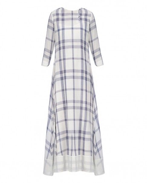 White and Ink Blue Checkered Dress