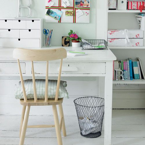 Creative Workspace - White: Rustic white creative space.