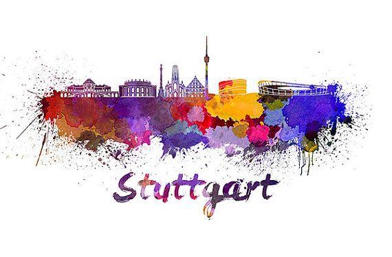 Stuttgart skyline in watercolor INSTANT DOWNLOAD von PaulPrintables