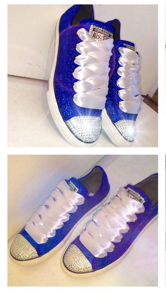 Women's Something blue royal sapphire sparkly Glitter Converse all star shoes chucks Swarovski crystals rhinestones sneakers wedding bride