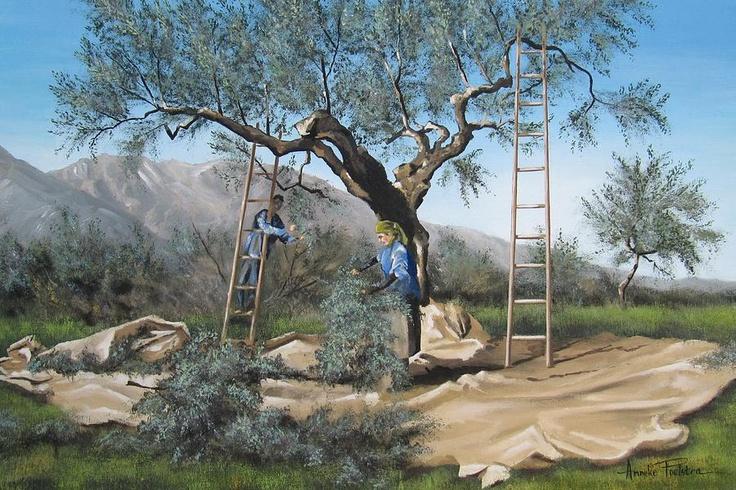 Farmers Picking Olives - Anna Poelstra Traga