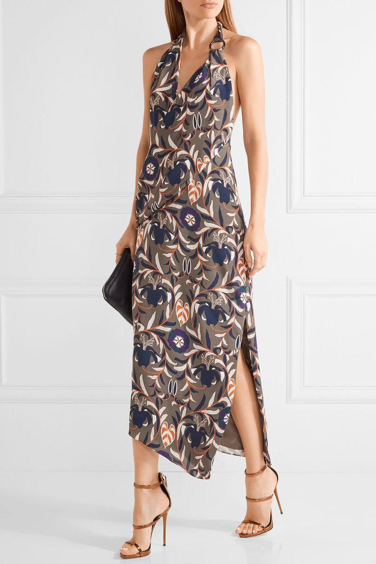 Haney | Madison printed silk halterneck dress | NET-A-PORTER.COM