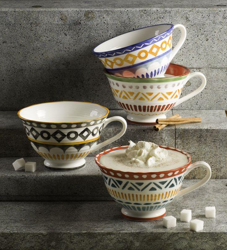 Amalfi Mix & Match Oversized Latte Mugs - Set of 4