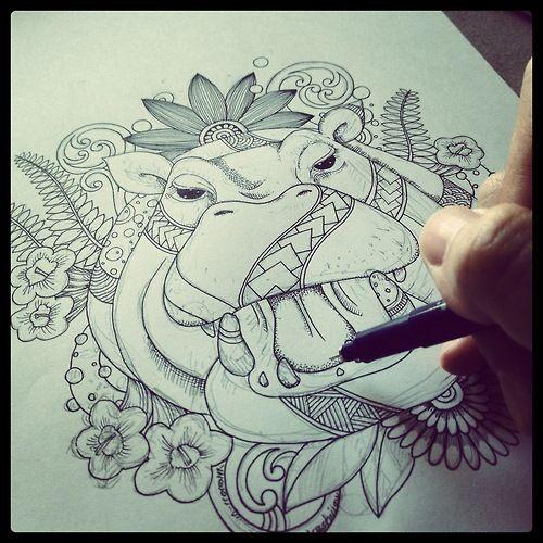 Hippo with tribal design - Noahs ART