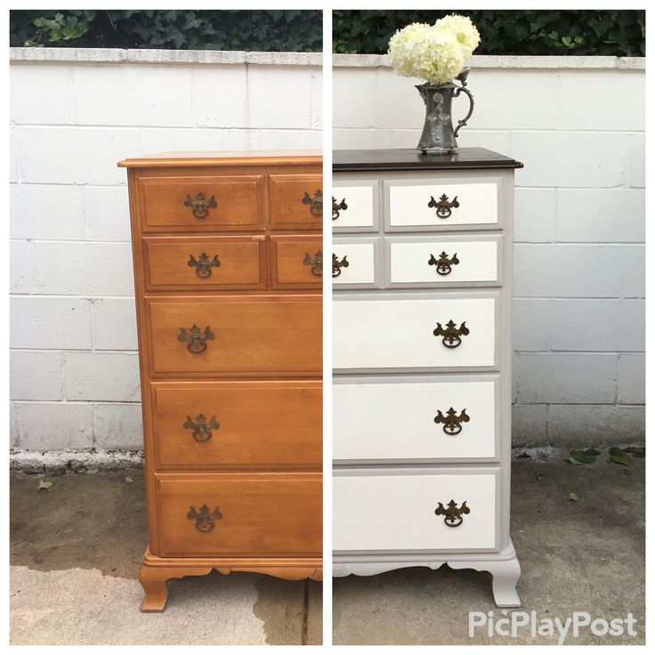 http://www.alittlespruce.com/  DIY 58 Year Old Maple Dresser Makeover! Americana Deco Chalk Paint and a dark walnut stain on top. Original drawer pulls cleaned with apple cider vinegar.