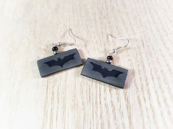 Batman Logo Earrings, Batman Gift, Batman Birthday, Batman Party, Batman Jewelry, DC Comics, Batman Art, Hand Painted, Silver Earrings