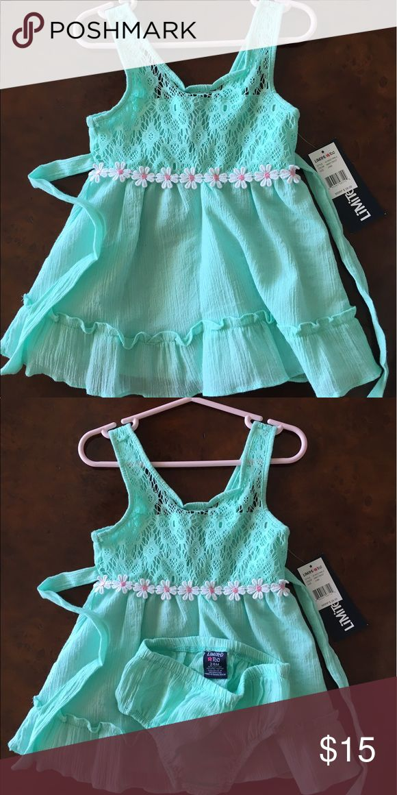 Limited Too Toddler Girl Dress Sized 24 months. Perfect condition - new, never worn, with tags! Sea green color with coordinating bloomers. Super lightweight fabric for the summer! Dresses Casual