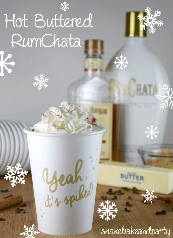 Hot Buttered RumChata (2 cups brown sugar 1/2 cup butter 1 pinch salt 8 cups hot water 2 cinnamon sticks 6 whole cloves 1 cup Captain Morgan's Spiced Rum 1 cup RumChata)