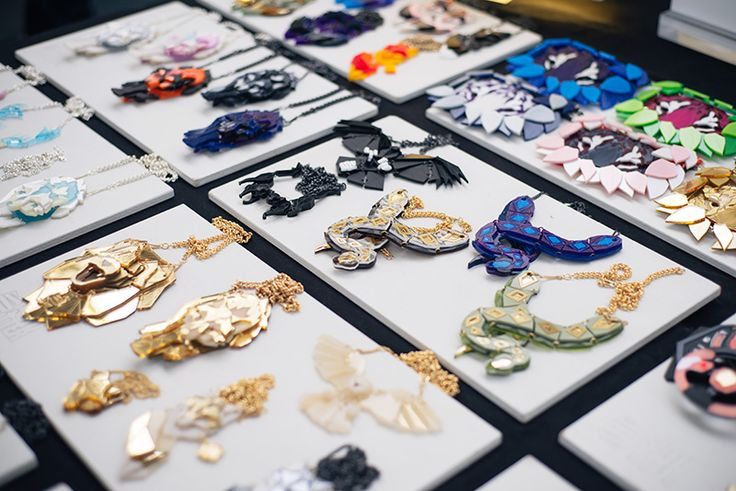 Hyper Japan festival 2016 Kensington Olympia. Geometric perspex necklaces and…