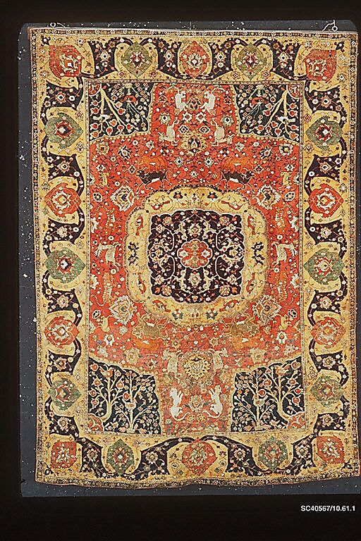 Carpet  Object Name:     Carpet Date:     17th century Geography:     Iran, probably Herat Medium:     Silk (warp) cotton (weft), wool (weft and pile); asymmetrically knotted pile Dimensions:     H. 91 1/8 in. (231.4 cm) W: 68 in. (172.7 cm) Classification:     Textiles-Rugs