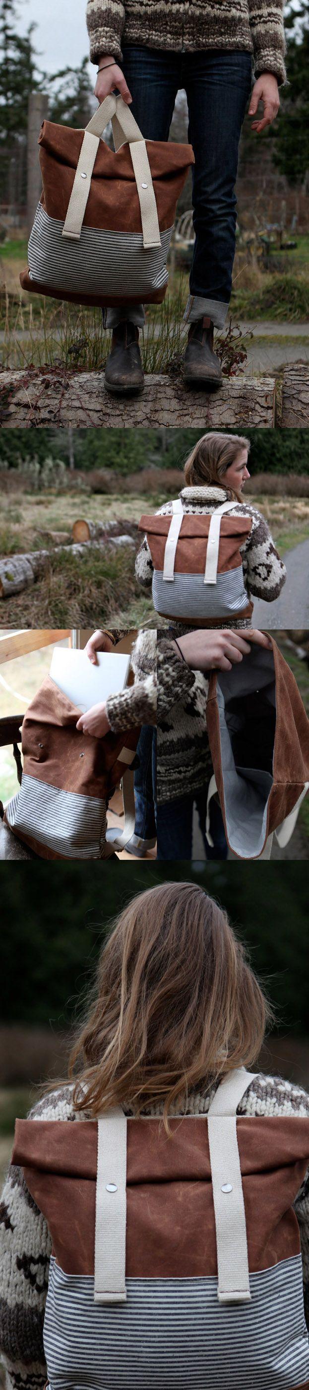 Waxed Canvas Backpack - Weather Resistant - Stripes - Roll Top Rucksack  Diese und weitere Taschen auf www.designertaschen-shops.de entdecken