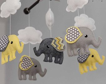 Elephant Mobile Baby Mobile Custom Mobile not by TayloredWhimsy