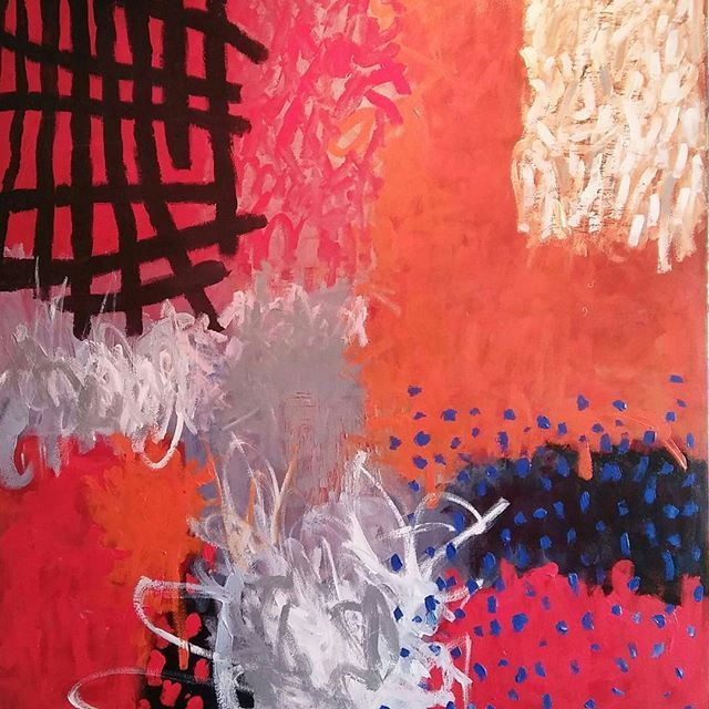 This large canvas is the third of this series.  Only needs minor finishing then ready to hang. #artiststudio. #australia. #expressionist. #kunst. #artcollector #Qdos #abstract
