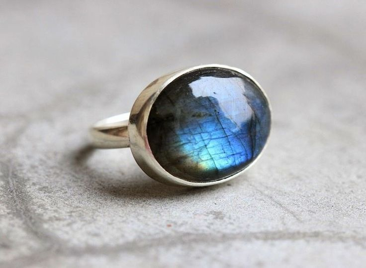 Ooak Natural Labradorite Ring Cabochon Silver Ring Blue