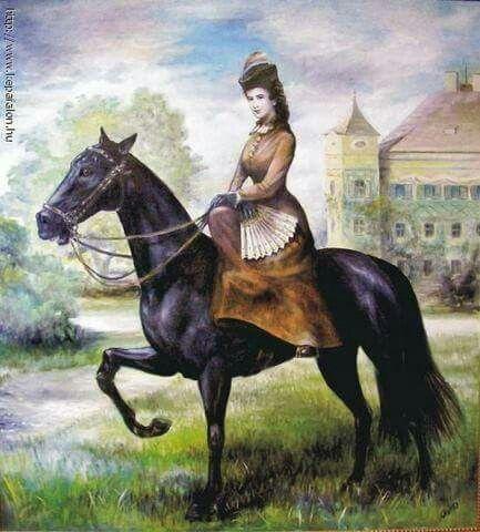 Elisabeth te paard voor kasteel Possenhofen(?)