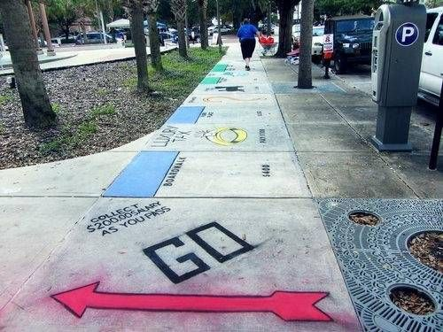 monopoly sidewalk chalk art...this sparks an idea for a homemade board game played on the sidewalks at church!