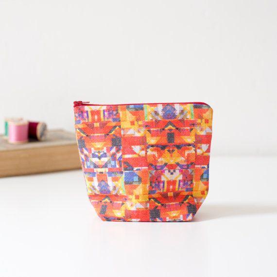 Geometric triangle pattern printed linen pouch by PixelAndThread