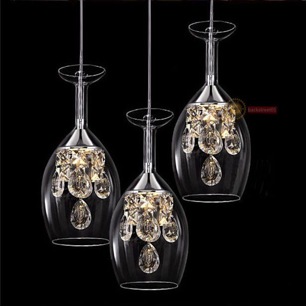 Modern Crystal Wine Glasses Chandelier Ceiling Lights