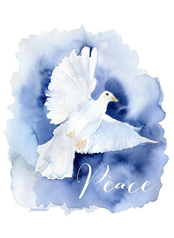 Peace Dove Watercolor Painting Christmas Cards Set of 10