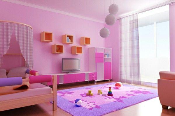 Children's pink decoration idea bed shelves carpet