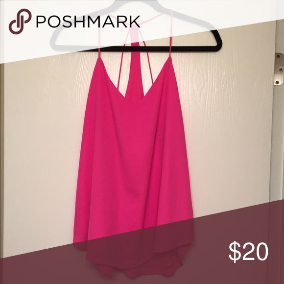 Pink Strappy Tank 💖 Really cute, hot pink strappy tank! Great for casual outfits or going out!!! Perfect condition! Fits a S or M. Bundle to save more! 💖 Lulu's Tops
