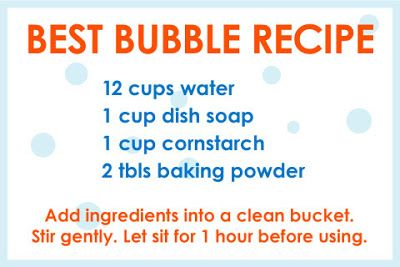 Homemade DIY bubble recipe for kids.