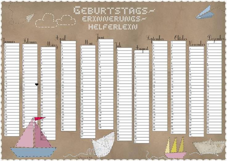 16 best images about Geburtstagskalender on Pinterest