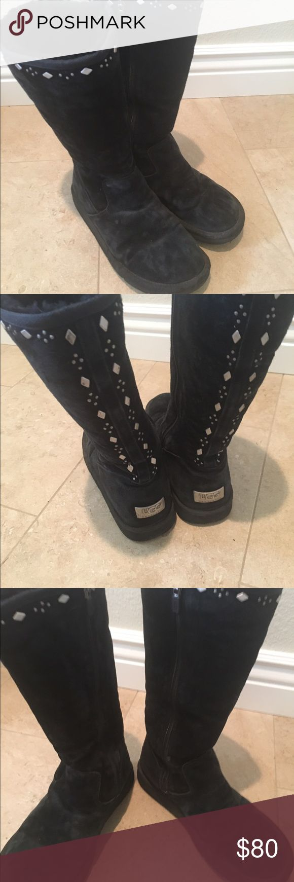 UGG Boots. Excellent condition. Black tall UGG boots with beautiful detail. Excellent condition. Size 9 Shoes Winter & Rain Boots