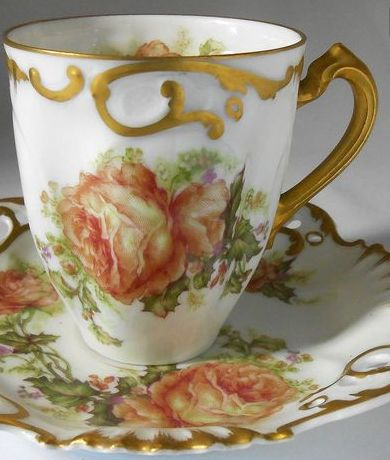 RARE NUMBERED HAVILAND LIMOGES CHRISTMAS ROSE CHOCOLATE CUP & SAUCER