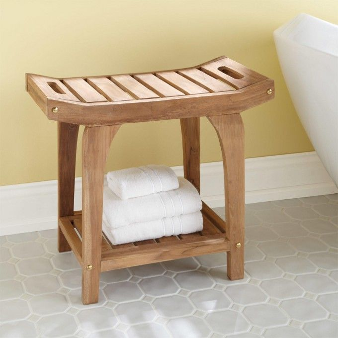 Teak Rectangular Shower Stool with Handles