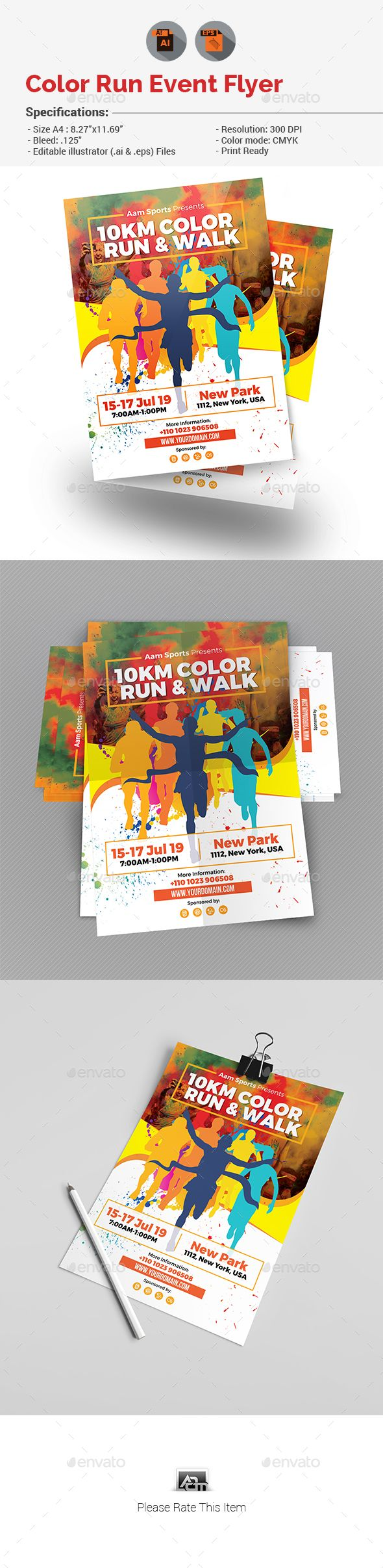 Color Run Event Flyer Vector EPS Running Splash O Download