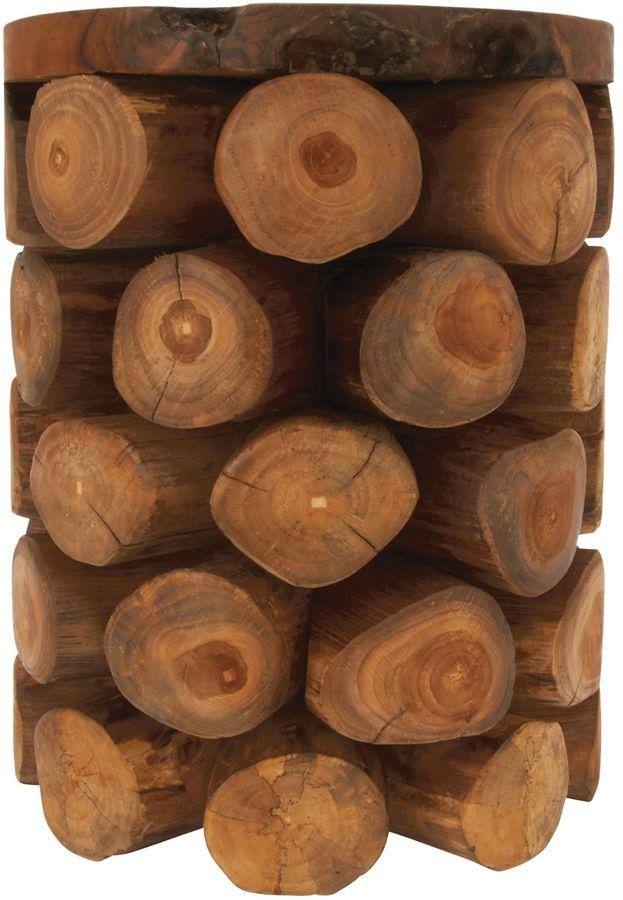 UMA Teak Log Stool Side Table