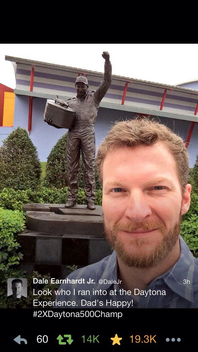 "Love this. Dale Earnhardt Jr. ""Dads happy!"" Daytona 500 winner 2014"