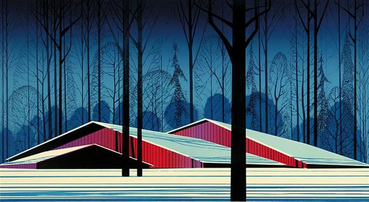 Winter Barns, 1982 by Eyvind Earle. Magic Realism. landscape