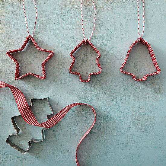 Cookie cutter ornaments. When the baking is done, turn your Christmas cookie cutters into easy ornaments with a seasonal ribbon.
