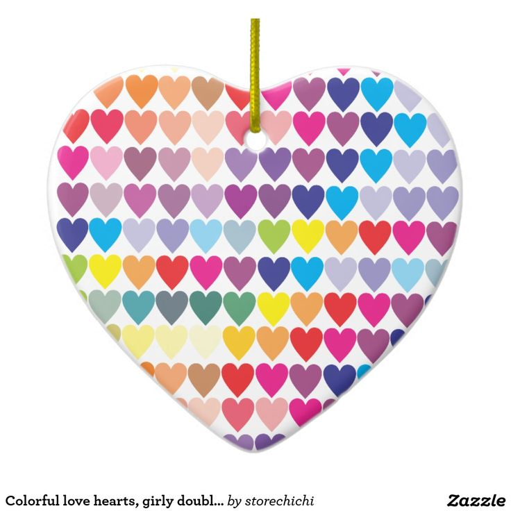 Colorful love hearts, girly double sided christmas