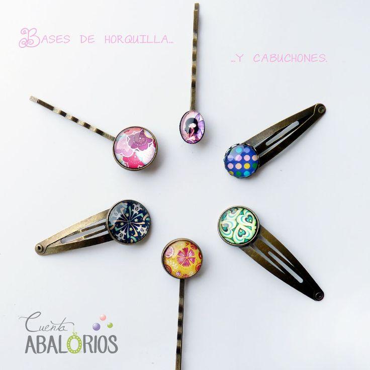 http://www.cuentaabalorios.com?utm_content=buffer7ed8f&utm_medium=social&utm_source=pinterest.com&utm_campaign=buffer Bases de horquillas de varios tamaños y cabuchones a tu gusto. #camafeos #bisuteria #beads