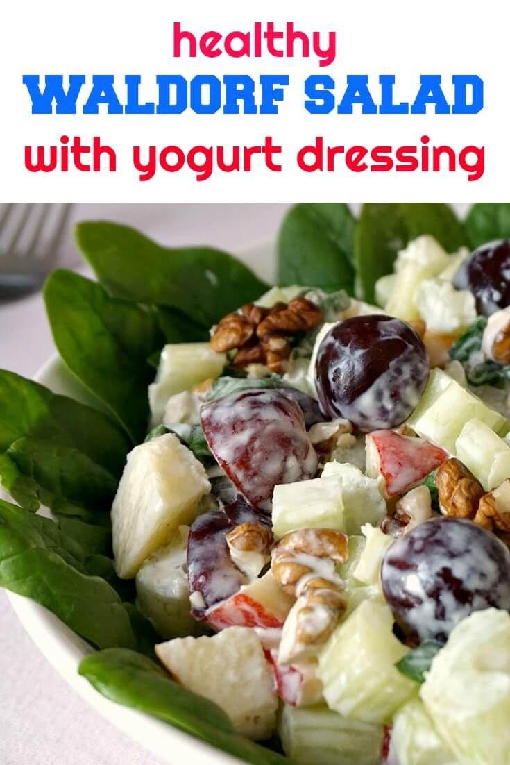 Gesunder Waldorfsalat mit Sellerie, Äpfeln, Spinat, Trauben und Walnüssen, …   – Salads