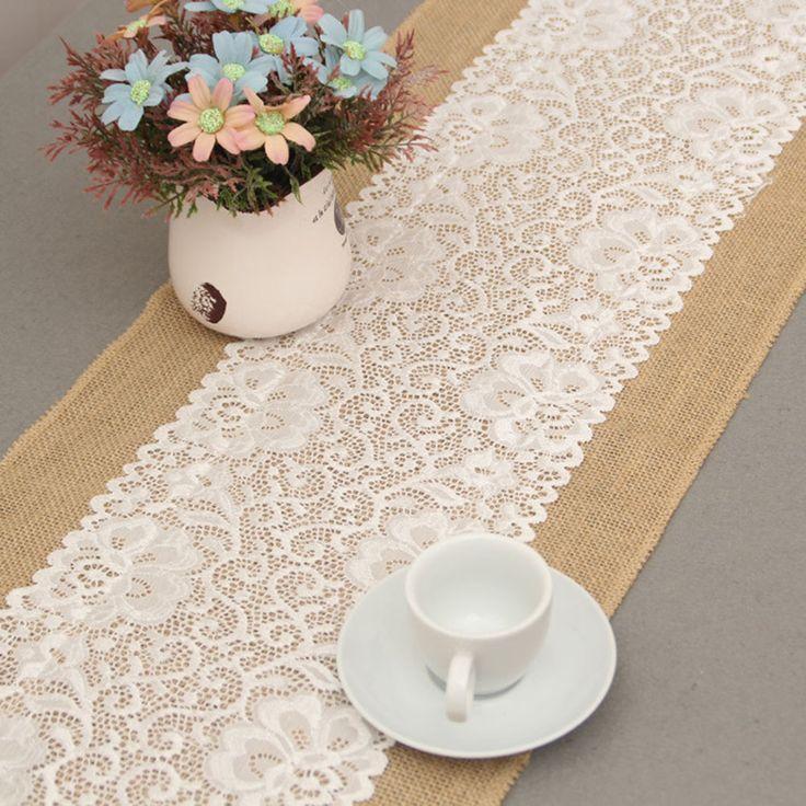 30*180cm Vintage Burlap Lace Hessian Table Runner Natural Jute Wedding Decor ATA 4