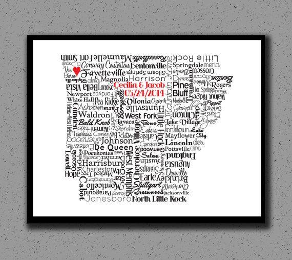 Arkansas State Print, AR, Arkansas State Art, State Map