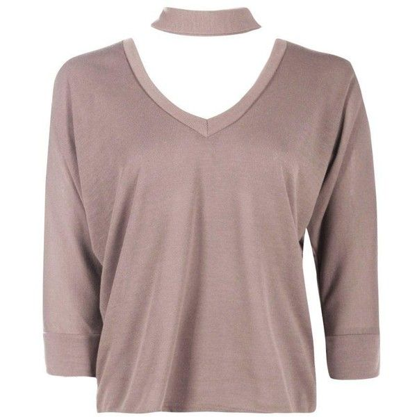 Boohoo Jess Knitted Batwing Choker T-Shirt (24 CAD) ❤ liked on Polyvore featuring tops, t-shirts, brown t shirt, batwing t shirt, batwing tops, brown tops and brown tee