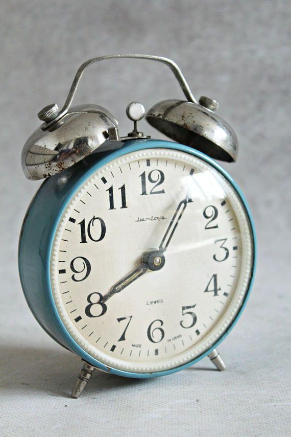 Vintage alarm clock Soviet alarm clock Jantar 4 jewels