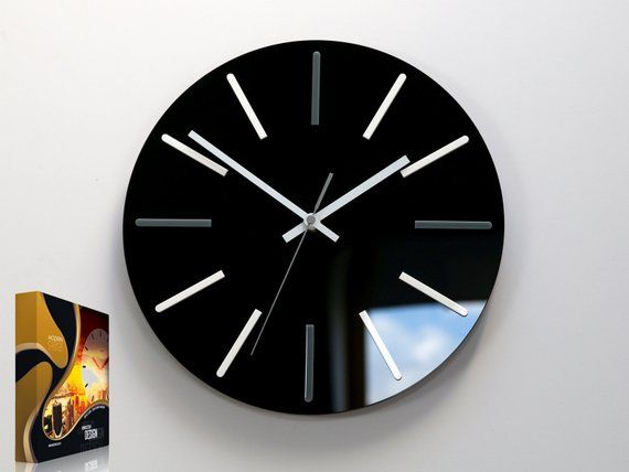 Large Wall Clock Modus Silent Black Clock 30cm 11 81 Modern Clock With White Indeks Large Wall Clock Wall Clock Modern Clock
