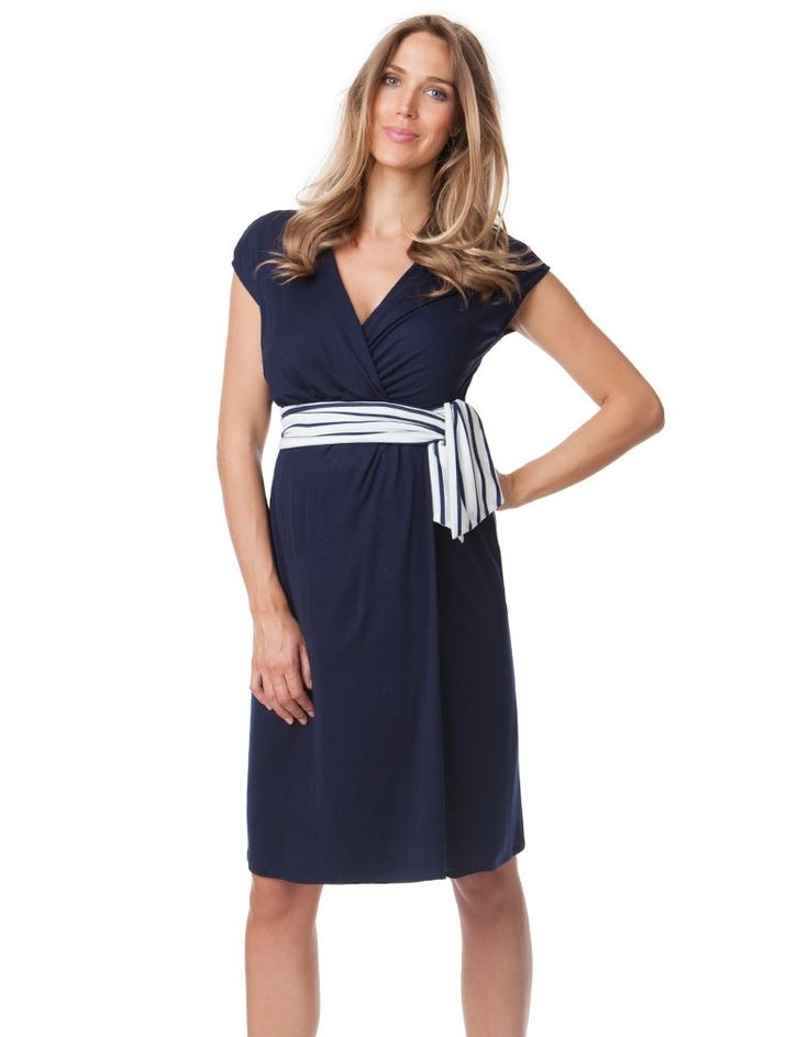 <ul> <li>Made in soft stretch viscose</li> <li>Nautical ties at the empire line</li> <li>Above the knee</li> </ul> <p>In our Nautical Maternity Wrap Dress, you can work two of this season's hottest trends at once! Nautical styles come back year after year, and the classic wrap dress is set for a huge revival this season - fantastic news for moms-to-be, as the flexible wrap style is perfect for pregnancy. Made in soft stretch jersey, this navy maternity wrap dress offers a flattering drape…