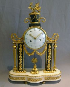 stock number 4991  stock number 4991 Antique French Louis XVI ormolu mounted white and grey marble mantel clock.