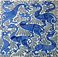 Fantastic ducks on 6-inch tile with lustre highlights, Fulham period William De Morgan