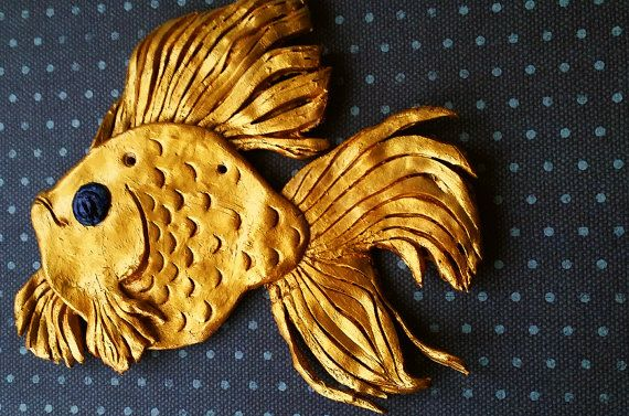 gold fish wall decor ornament home docor by Kats13stuff on Etsy