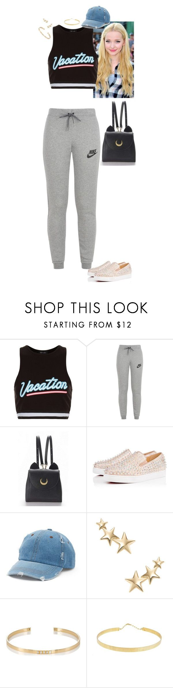 """Untitled #240"" by stinze on Polyvore featuring New Look, NIKE, WithChic, Christian Louboutin, Mudd, Kenneth Jay Lane, Ileana Makri and Lana Jewelry"
