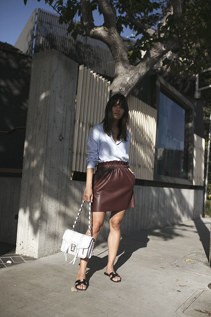 teetharejade Outfit: Blue shirt & red leather skirt on Melrose Ave » teetharejade