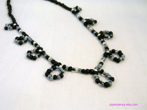 Czech Glass Bead Beadweave Necklace by PipandAnya on Etsy